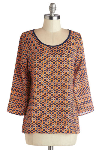 Ready to A-maze Top - Woven, Mid-length, Orange, Blue, Print, Work, 3/4 Sleeve, Spring, Summer, Good, Scoop, Orange, 3/4 Sleeve