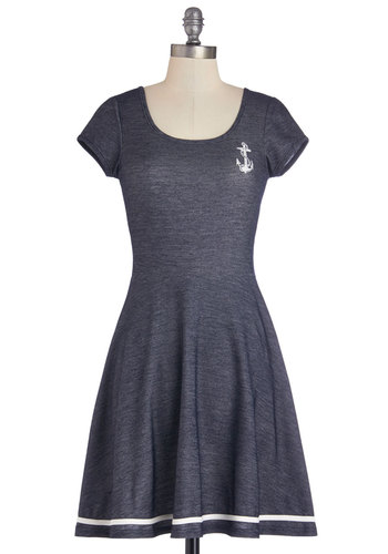 Grand Old Maritime Dress - Knit, Mid-length, Blue, White, Casual, Nautical, A-line, Short Sleeves, Better, Scoop
