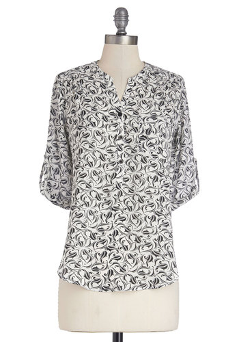 Drifting and Dancing Top - Woven, Mid-length, Multi, Black, White, Print, Work, Long Sleeve, Spring, Black/White, Tab Sleeve, Pockets