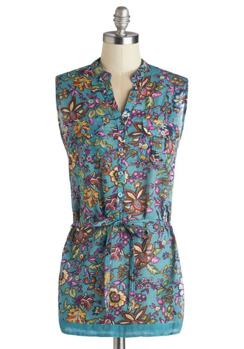 Daybreak on the Deck Tunic - Cotton, Woven, Long, Blue, Multi, Floral, Daytime Party, Sleeveless, Spring, Summer, Good, Blue, Sleeveless, Buttons, Pockets, Belted