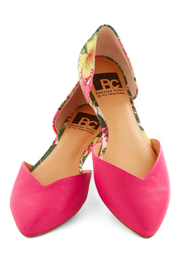 Dreaming of Destinations Flat in Fuchsia by BC Footwear - Flat, Leather, Pink, Multi, Solid, Floral, Daytime Party, Valentine's, Better, Variation, Beach/Resort