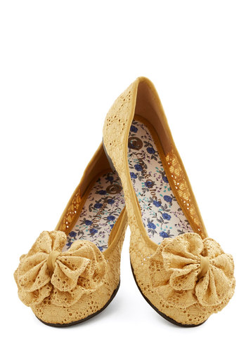 Charming Melody Flat in Honey - Flat, Woven, Yellow, Solid, Eyelet, Casual, Daytime Party, Good, Variation, Flower, Lace, Spring, Lace