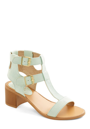 Candy-making Conference Heel - Mid, Faux Leather, Mint, Solid, Buckles, Daytime Party, Pastel, Spring, Summer, Chunky heel, Strappy, Variation