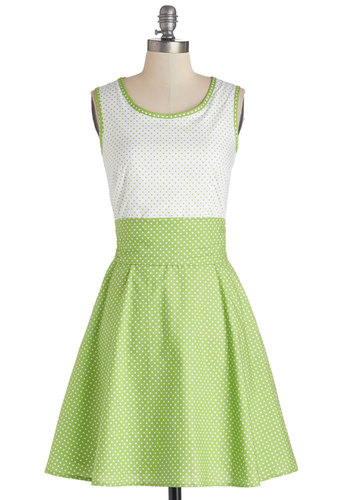 Make a Good Pinpoint Dress by Bea & Dot - Cotton, Woven, Green, White, Polka Dots, Pockets, Belted, Casual, A-line, Sleeveless, Exclusives, Private Label, Scoop, Spring, Sundress, Show On Featured Sale, Mid-length