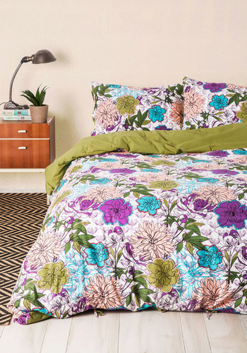 Blooms for Your Room Duvet Cover in Full/Queen by Karma Living - Cotton, Woven, Multi, Floral, Boho, Best, Green, Blue, Purple, White, Summer