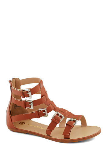 Open Air Open Mic Sandal - Flat, Faux Leather, Tan, Solid, Buckles, Casual, Daytime Party, Beach/Resort, Boho, Summer, Good, Strappy, Festival