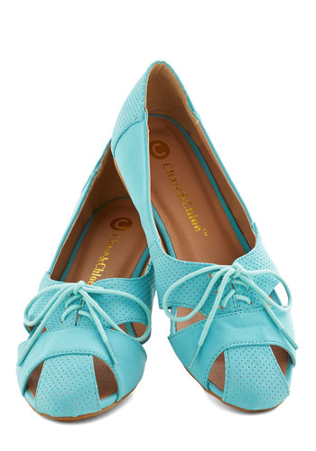 Touring Harbor Town Flat in Turquoise - Flat, Faux Leather, Blue, Solid, Cutout, Casual, Daytime Party, Lace Up, Good, Variation, Festival, Boho