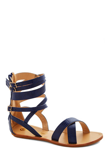 Lake Michigan Sandal - Faux Leather, Blue, Solid, Beach/Resort, Spring, Summer, Good, Strappy, Casual, Festival