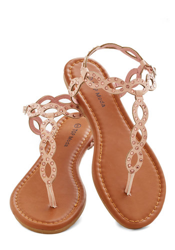 Blush of Happiness Sandal - Flat, Faux Leather, Pink, Solid, Studs, Beach/Resort, Pastel, Summer, Good, Strappy, Casual