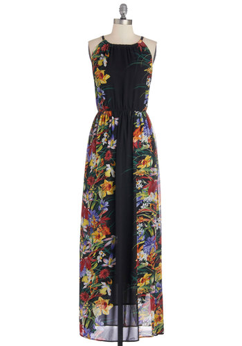 Eau My Goodness Dress - Floral, Casual, Maxi, Sleeveless, Better, Long, Multi, Black, Beach/Resort