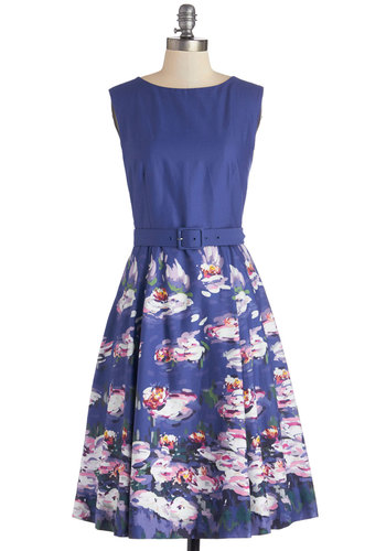 Museum Matrimony Dress by Bea & Dot - Spring, Blue, Floral, Belted, A-line, Sleeveless, Better, Boat, Cotton, Woven, Purple, Multi, Daytime Party, Exclusives, Long, Graduation, Summer