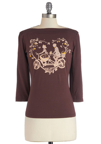 Cute is Better Than One Top - Jersey, Cotton, Knit, Brown, Novelty Print, Casual, 3/4 Sleeve, Spring, Brown, 3/4 Sleeve, Eco-Friendly, Boat, Valentine's