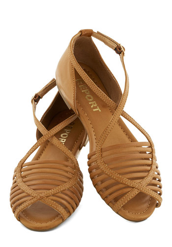 Boardwalk Stroll Sandal in Sand - Flat, Faux Leather, Tan, Solid, Cutout, Beach/Resort, Festival, Spring, Summer, Better, Peep Toe, Variation, Boho