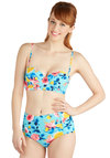 Betsey Johnson Floating on Petals Swimsuit Top by Betsey Johnson - Knit, Blue, Multi, Floral, Beach/Resort, Summer, High Waist