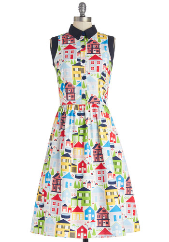 Yea or Neighborhood Dress - Cotton, Woven, Long, Multi, Novelty Print, Casual, Shirt Dress, Sleeveless, Better, Collared, Buttons, Statement