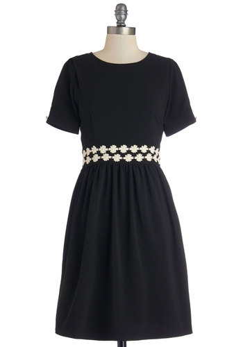 Belting It Out Dress - Black, Tan / Cream, Solid, Casual, A-line, Short Sleeves, Better, Scoop, Woven, Mid-length, Crochet