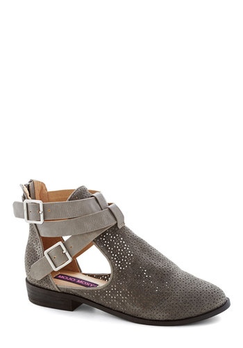 At the Cutting Edge Bootie in Charcoal - Low, Leather, Suede, Grey, Solid, Buckles, Cutout, Better, Variation, Festival, Boho