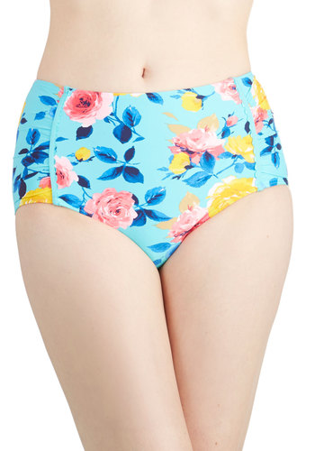 Betsey Johnson Floating on Petals Swimsuit Bottom by Betsey Johnson - Knit, Blue, Multi, Floral, Beach/Resort, Summer, High Waist