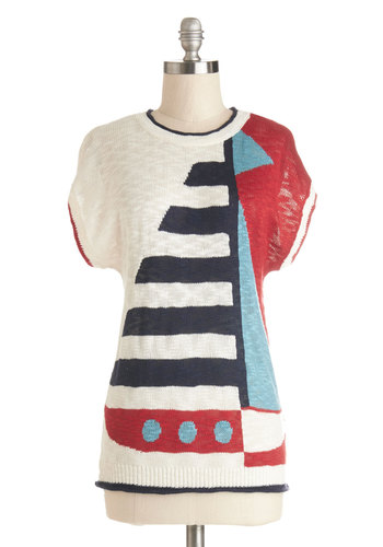 Sailing at Sunset Sweater by Yumi - Cream, Red, Blue, Nautical, Short Sleeves, Better, Sheer, Knit, Mid-length, Casual, Crew, Multi, Short Sleeve