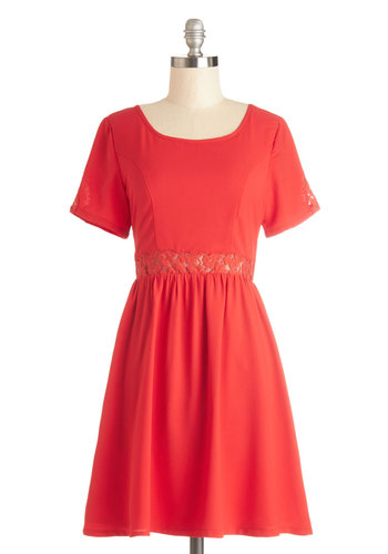 Leading Ladylike Dress by Yumi - Red, Solid, Lace, Party, Valentine's, A-line, Short Sleeves, Better, Scoop, Sheer, Woven, Mid-length