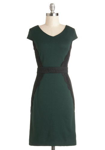 Prim and Polished Dress - Green, Black, Lace, Work, Shift, Cap Sleeves, Better, V Neck, Knit, Mid-length