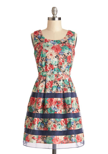 At the Garden Gate Dress - Multi, Floral, Pleats, Trim, Daytime Party, A-line, Tank top (2 thick straps), Better, Scoop, Sheer, Woven, Mid-length, Spring