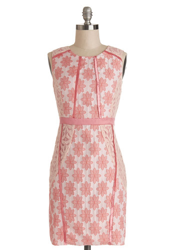 Flower Shop Inspiration Dress - Pink, White, Floral, Lace, Trim, Daytime Party, Sheath / Shift, Sleeveless, Better, Scoop, Satin, Woven, Lace, Mid-length, Spring, Summer
