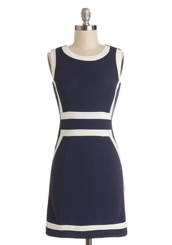 Mod to Order Dress - Blue, White, Trim, Casual, Mod, Sheath / Shift, Sleeveless, Good, Scoop, Knit, Short, Nautical, 60s