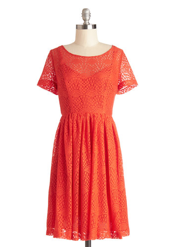 Plenty by Tracy Reese Fashionable Firecracker Dress by Plenty by Tracy Reese - Sheer, Knit, Lace, Mid-length, Solid, Cutout, Lace, Wedding, Party, Bridesmaid, A-line, Short Sleeves, Better, Scoop, Orange