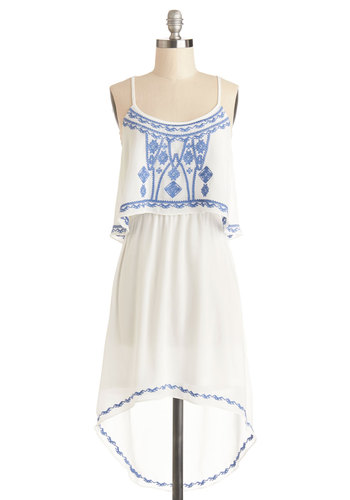 A New Lighthearted Dress - Chiffon, Sheer, Woven, Mid-length, White, Blue, Embroidery, Casual, Festival, High-Low Hem, Spaghetti Straps, Good, Scoop, Tiered, Boho, Sundress