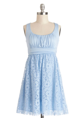 Artisan Iced Tea Dress in Sky - Blue, Solid, Lace, Daytime Party, A-line, Sleeveless, Good, Scoop, Jersey, Knit, Short, Ruching, Pastel, Variation, Spring, Lace, Sundress