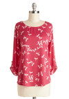 Zoom Bisou Top in Dragonfly - Woven, Mid-length, Chiffon, Pink, White, Print with Animals, Casual, 3/4 Sleeve, Variation, Scoop, Pink, Tab Sleeve