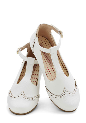 Joy and Merriment Flat in White - White, Casual, Vintage Inspired, Buckles, Flat, Better, T-Strap