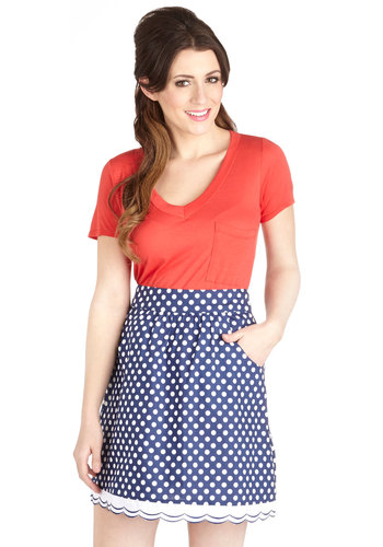 All Year Round Skirt - Blue, Polka Dots, Casual, Vintage Inspired, Spring, Short, Cotton, Pockets, Exclusives, A-line, Blue