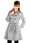 Dashing Detective Jacket by Kling - 1, Spring, Multi, Checkered / Gingham, Buttons, Epaulets, Belted, Casual, Long Sleeve, Better, Collared, Black/White, Long Sleeve, Black, White, Double Breasted, Long, Woven