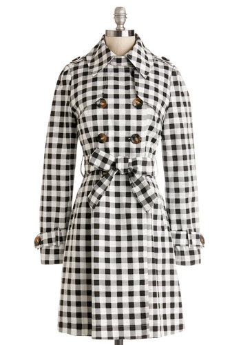 Dashing Detective Jacket by Kling - Spring, Multi, Checkered / Gingham, Buttons, Epaulets, Belted, Casual, Long Sleeve, Better, Collared, Black/White, Long Sleeve, Black, White, Double Breasted, Long, Woven, 1