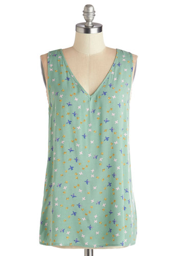 Walking Points Top - Green, Sleeveless, Woven, Mid-length, Mint, Multi, Print with Animals, Critters, Sleeveless, Spring, Summer, Good, Cutout, Casual, Pastel