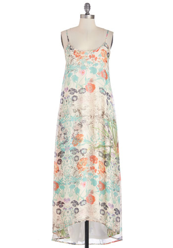 Sunroom Soiree Dress - Casual, Maxi, Spaghetti Straps, Good, Scoop, Chiffon, Woven, Long, Multi, Floral, Boho, Sundress, Beach/Resort, Spring, Festival