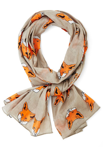 Great Idea Scarf by Disaster Designs - Cotton, Sheer, Woven, Grey, Orange, White, Print with Animals, Better, International Designer, Critters, Woodland Creature