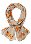 Great Idea Scarf by Disaster Designs - Cotton, Sheer, Woven, Grey, Orange, White, Print with Animals, Better, International Designer, Top Rated