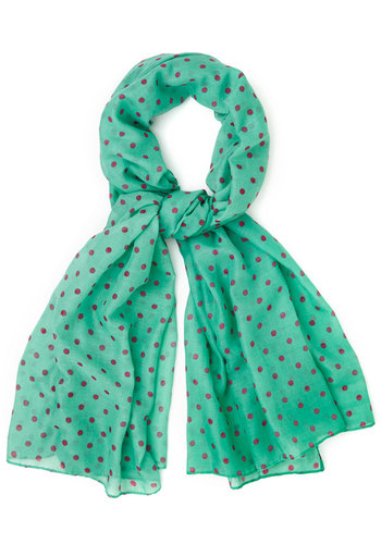 Dots to Discuss Scarf in Mint - Mint, Polka Dots, Better, Variation, Purple, Green