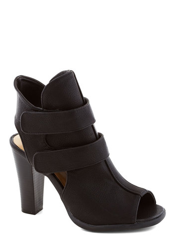 Avant-Garde Guru Bootie - High, Faux Leather, Black, Solid, Cutout, Party, Girls Night Out, Urban, Peep Toe
