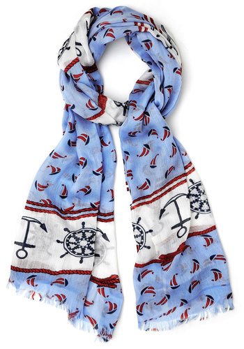 The Best is Yacht to Come Scarf - Blue, Red, White, Novelty Print, Casual, Daytime Party, Nautical, Better, Cotton, Press Placement