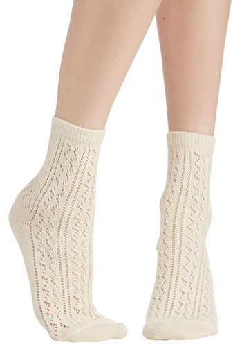 Whimsy for Yourself Socks in Ivory - Sheer, Knit, White, Solid, Crochet, Casual, Darling, Good, Variation, Top Rated