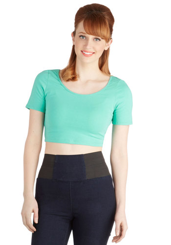 On Crop of the World Top in Mint - Jersey, Cotton, Knit, Short, Blue, Short Sleeve, Mint, Solid, Casual, Cropped, Short Sleeves, Spring, Summer, Good, Variation, Basic, Festival, Fruits