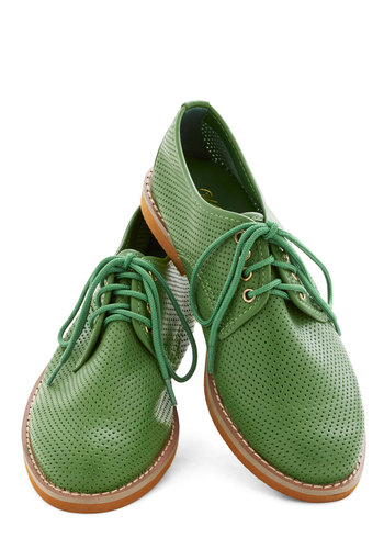 You Mow, Girl Flat - Low, Faux Leather, Green, Solid, Cutout, Menswear Inspired, Lace Up, Casual