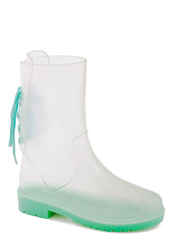 Outta Lucite Boot - Solid, Good, White, Green, Casual, Spring, Lace Up, Low, Sheer