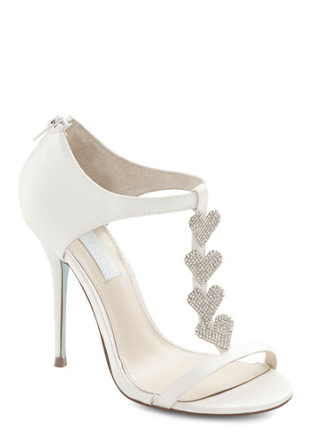 Betsey Johnson Luxe of Love Heel in White by Betsey Johnson - High, Woven, Mixed Media, Satin, White, Solid, Rhinestones, Special Occasion, Prom, Wedding, Party, Bridesmaid, Bride, Luxe, Best, T-Strap, Variation