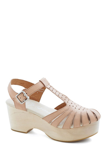 Park Photo Shoot Wedge in Mauve by Jeffrey Campbell - Mid, Leather, Tan, Solid, Cutout, Platform, Wedge, T-Strap, Variation, Daytime Party, Festival