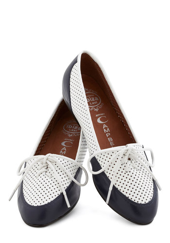 Lovely by the Links Flat in Navy by Jeffrey Campbell - Flat, Leather, White, Blue, Solid, Cutout, Nautical, Best, Lace Up, Variation, Menswear Inspired